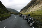 Bikes lined up in the picturesque Welsh mountains